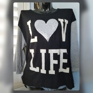 Derek Heart Tops - DEREK HEART Black Love Life Long Sleeve Tshirt Top